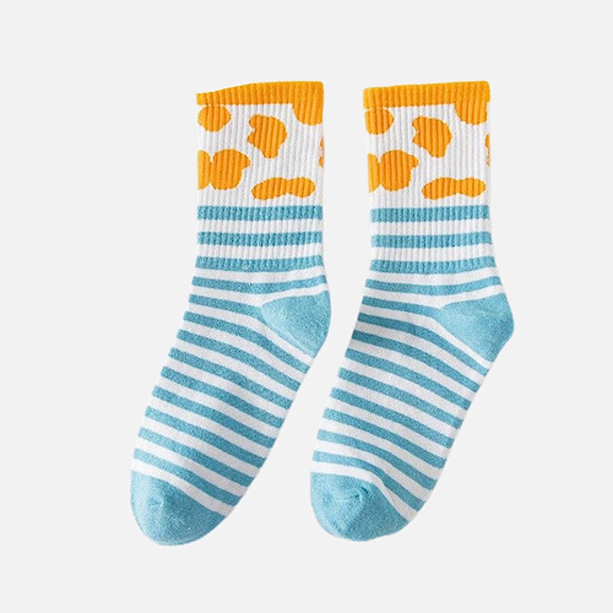 Rib Crew Socks      Cute Ribbed Cotton Light Blue Stripe White Cow Pattern print Street Fashion Cotton Socks footwear