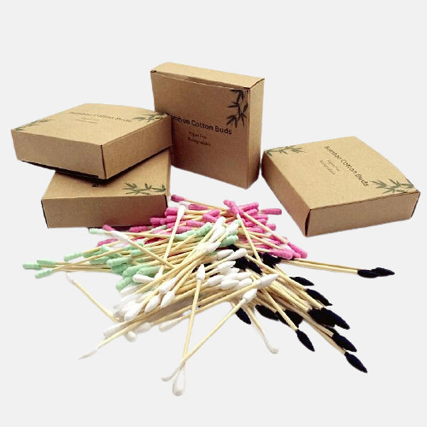 Biodegradable Bamboo Cotton Swabs      Compostable Eco Wooden Ear Sticks Swabs Wood Makeup Cotton Buds Trend