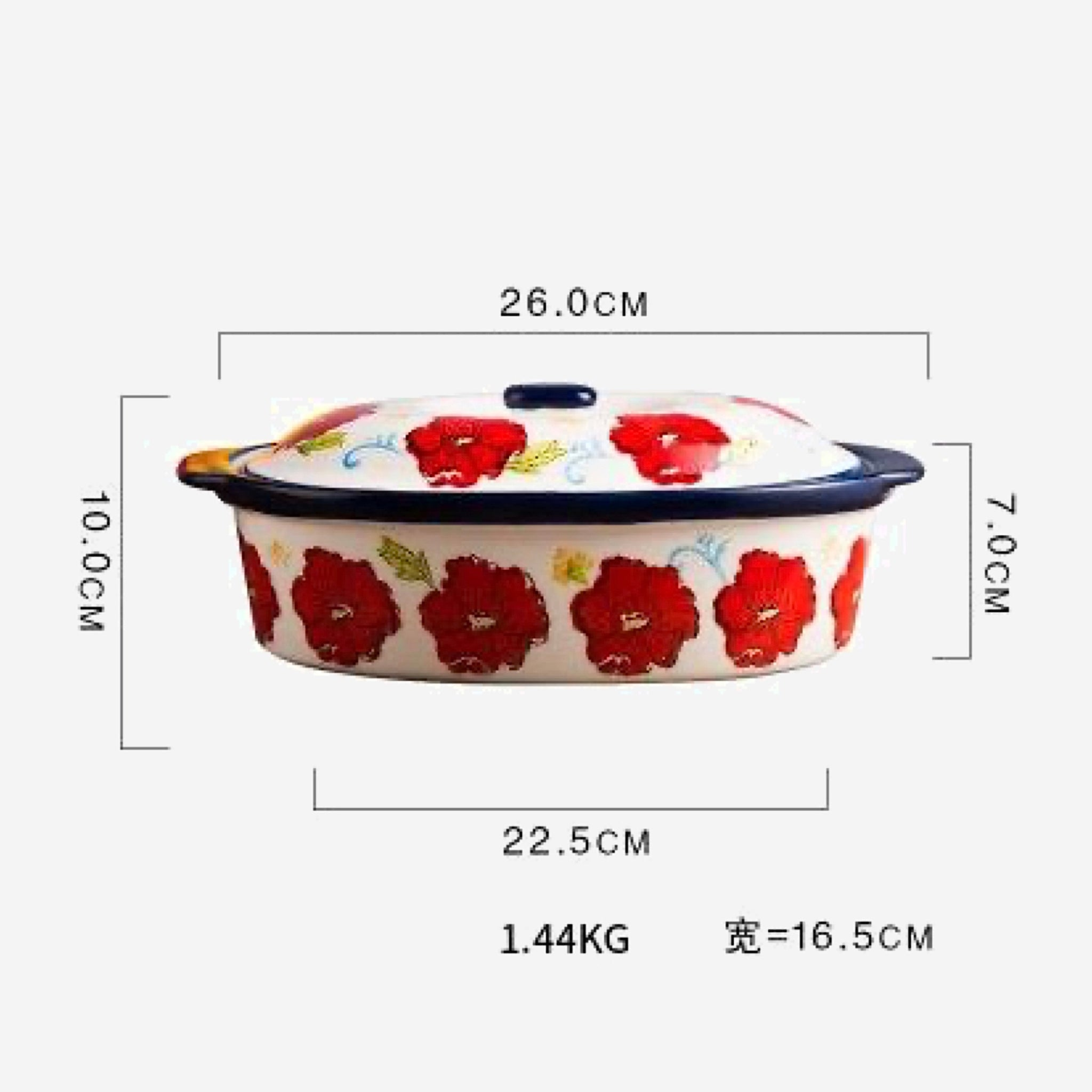 Ceramic Soup Pot With Cover   Red Flower Large Caserolle Baking Dish for Oven Household Tableware Size Chart