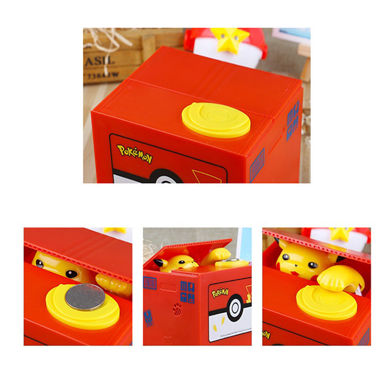 Automatic Pokémon Stealing Coin Piggy Bank Money Savings Box Coin Piggy Bank Cash Boxes Child Kids Gift Home Decoration Accessories Style W