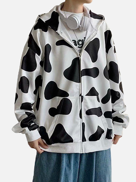 Harajuku Hooded Jacket   Casual Warm Cow Print Jacket Zip Close Mens Jackets Trend