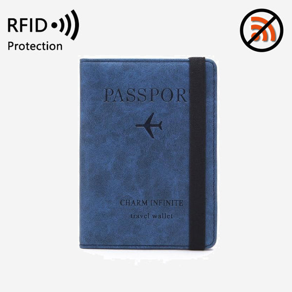 RFID Blocking Blue Travel Passport Cover Wallet Multifunction Business Credit Card Purse Organizer Case With Elastic Band Unisex Trending Style