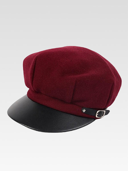 Leather Beret      Octagonal dark red British style black military rim berets newsboy cap Women's hats Trend