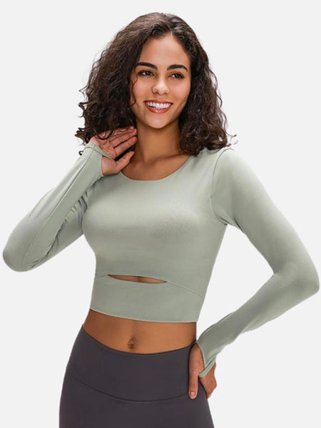 miFit Padded Sports T-Shirt     Ardor padded long sleeve thick water clear green color nylon with thumb holes Gym Yoga Fitness Women's Crop Sport Shirts Sportswear Trend