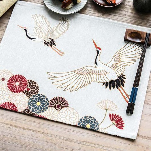 Elegant Japanese Crane Pattern Table Placemats for Table Set Cotton Linen Japan Dining Room Home Accessories Kitchen Pad Coffee Tea Place Mats