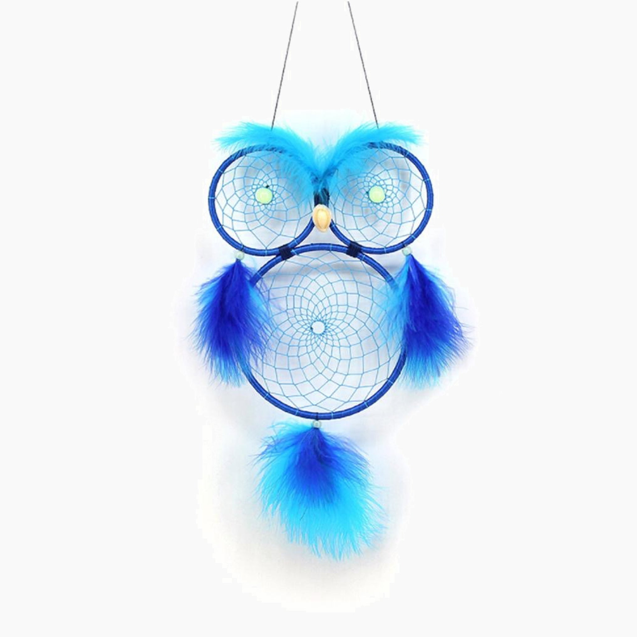 Handmade Blue Owl Color Feather Dreamcatcher Wind Chimes Owl Dream Catchers For Gifts DIY Wedding Home Decor Ornaments Trend