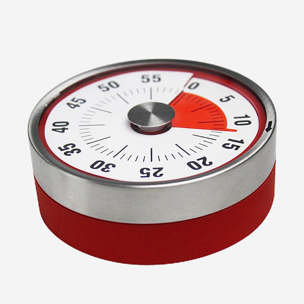 Stainless Steel Food Timer Clock Alarm mechanical Round Countdown Magnetic Cooking  Timers Kitchen Utility Trend