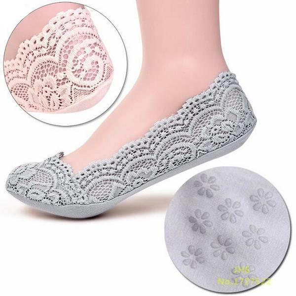 Woman's Gray Cotton Lace Antiskid Low Cut Liner Socks Women Grey