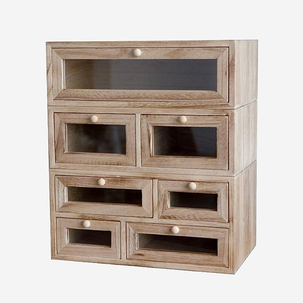 Wood Storage Drawer Box   Solid Japanese wooden desktop sundries cosmetics jewelry office multi-layer finishing cabinet Japan furniture Trend