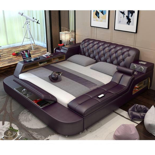 Genuine leather bed frame Soft Bed Massager storage safe speaker LED light Bedroom Furniture