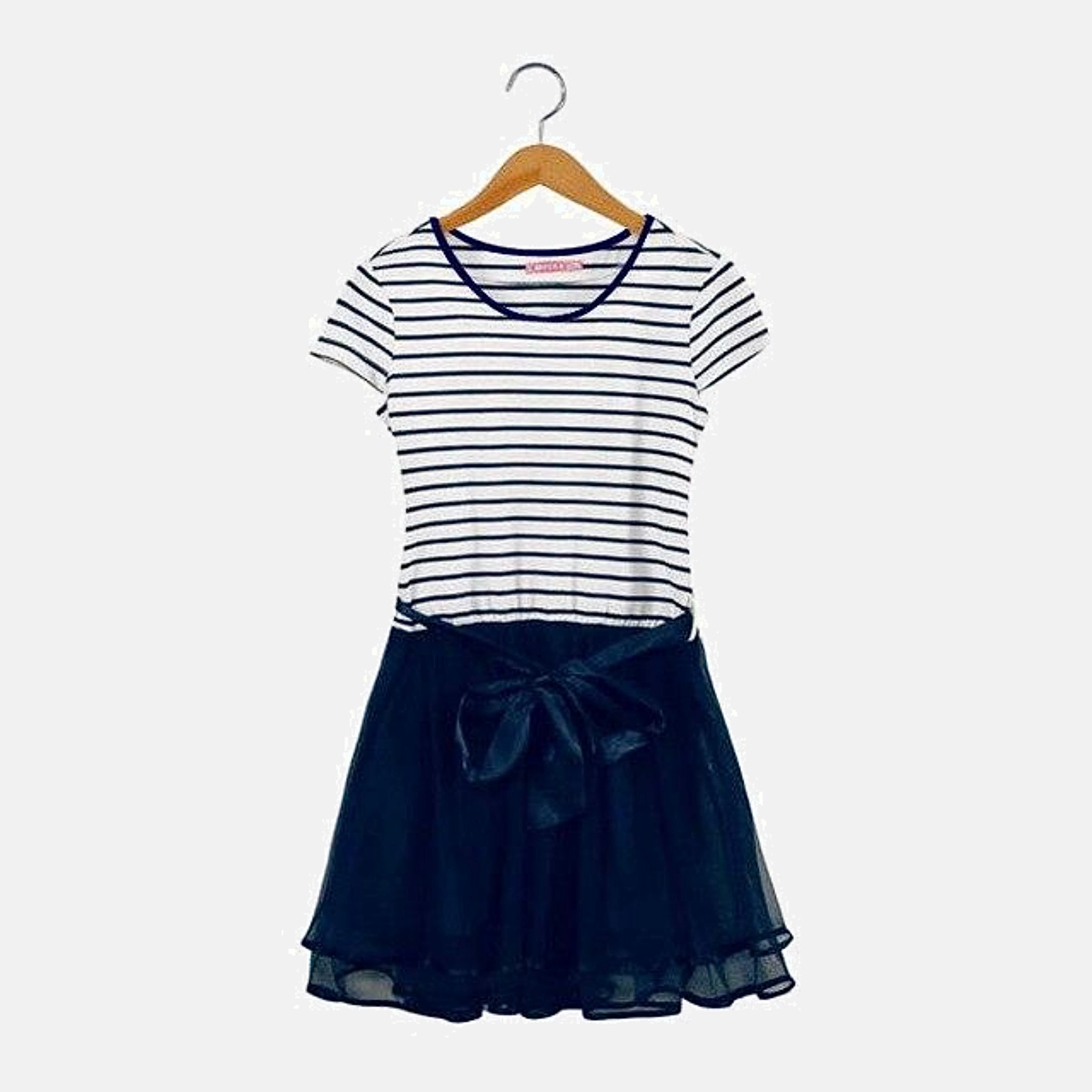 Family Match Sets   Striped cotton boatneck T-Shirt mother daughter mom girls toddler mesh midi skirt Father son dad boys toddlers navy blue shorts Matching clothing outfits Style