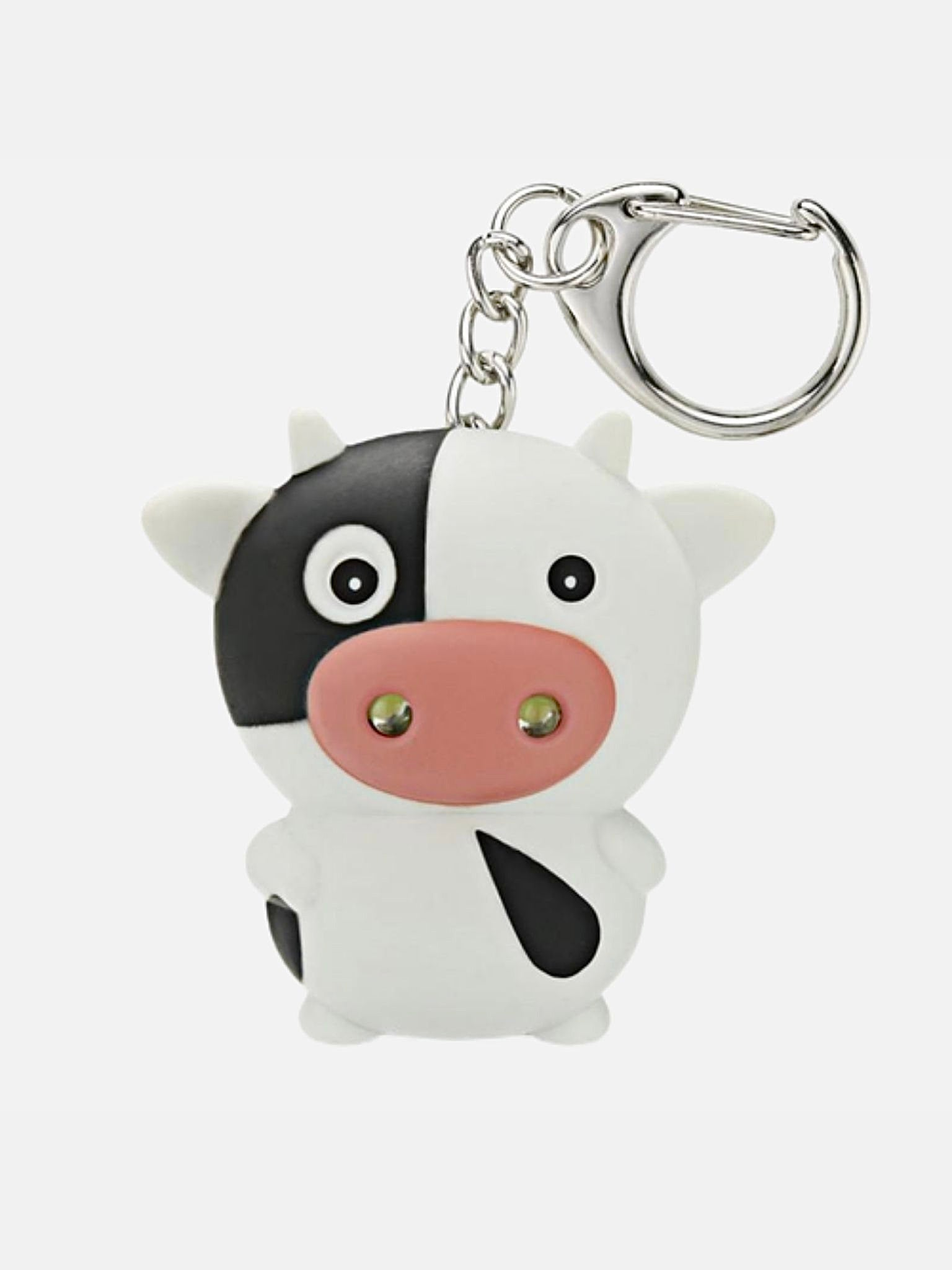 LED Cow Keychain with Sound     Cute Flashlight Mini Fun Gift Cattle Animal Keyring Key Chain Trend