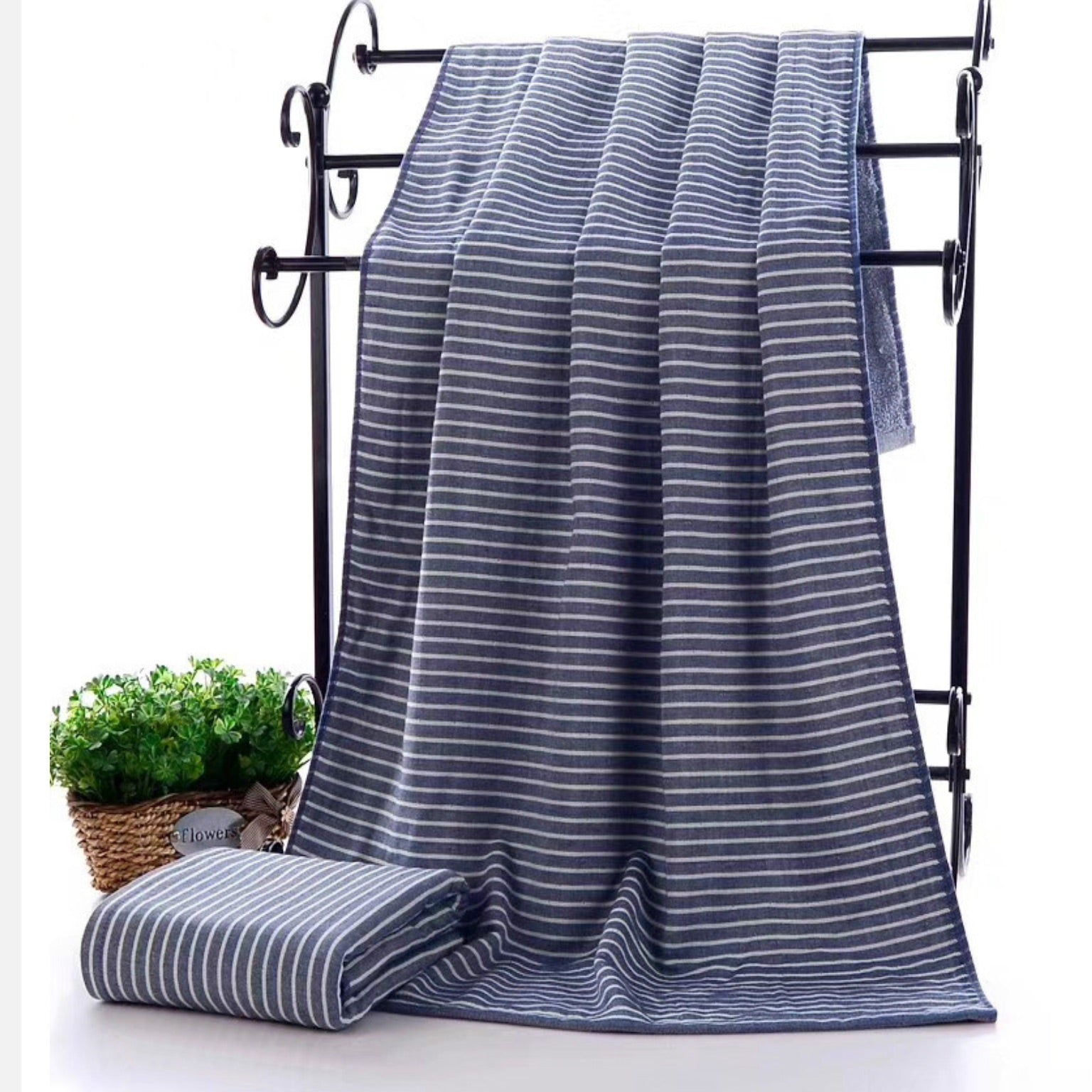 Trend Blue Cotton Bath Towel Japanese Striped Fabric Large Towel Japan Stripe Bathroom Linen Bath Towels