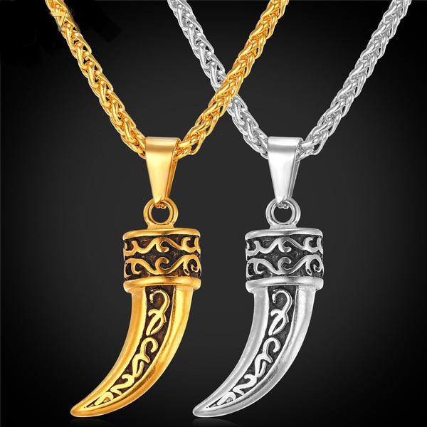 U7 Punk Rock Jewelry Wolf Teeth Men Necklace Gold Color Necklaces & Pendants Stainless Steel Chain Men Jewelry P746