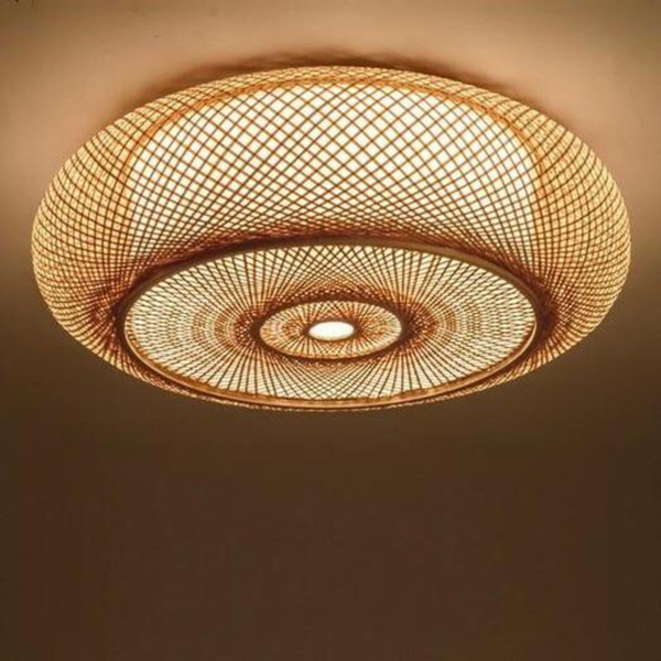 Trend Japanese Hand-woven Bamboo Wicker Rattan Round Lantern Shade Ceiling Light Fixture Rustic Asian Japanese Plafon Lamp Japan Bedroom Living Room Lighting Accessories