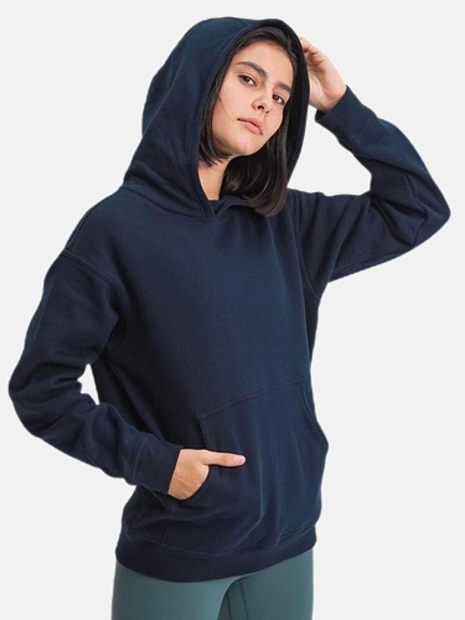Vintage Fleece Hoodie      Classic Leisure Pocket Warm Hip Length Navy Blue color Hooded Exercise Training Gym Sport Fitness Workout Women's Outdoor miFit Sweatshirts Trend