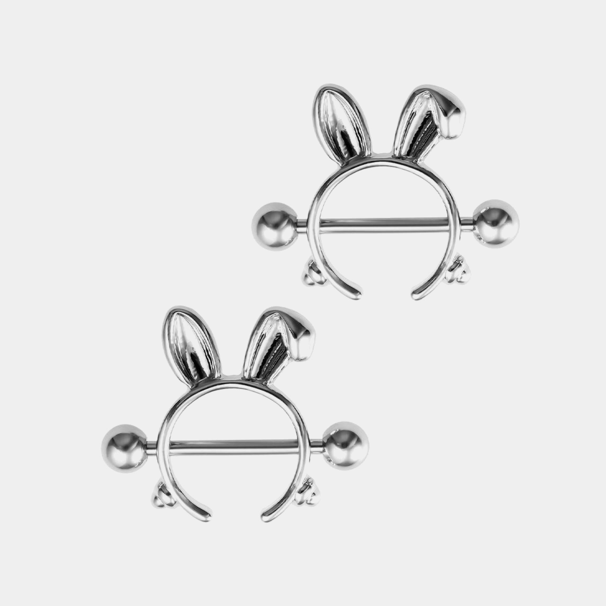 1 Pair Rabbit Nipple Rings 316L Stainless Steel Nipple Cover Punk Silver Color Body Jewelry Gift