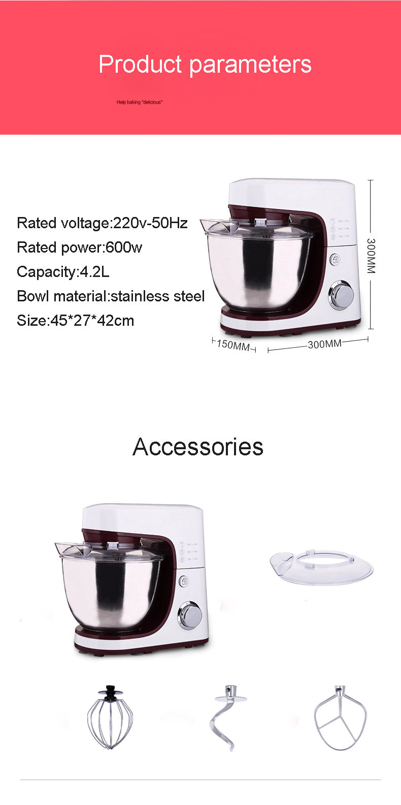 3.5L Stainless Steel Electric Food Mixer