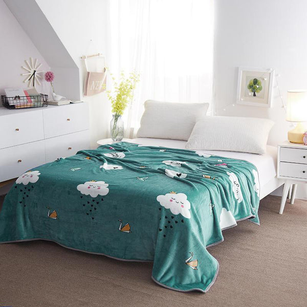 Soft Warm Clouds Green Blanket Throw Plush Thick Fleece Blankets for Sofa Bed Bedroom Home Decor Furnishing Trend
