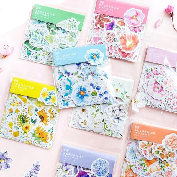 45 Piece Pack Japanese Kawaii Journal Cute Diary Flower Stickers Scrapbooking Flakes Decoration Japan Stationery School Supplies Trend