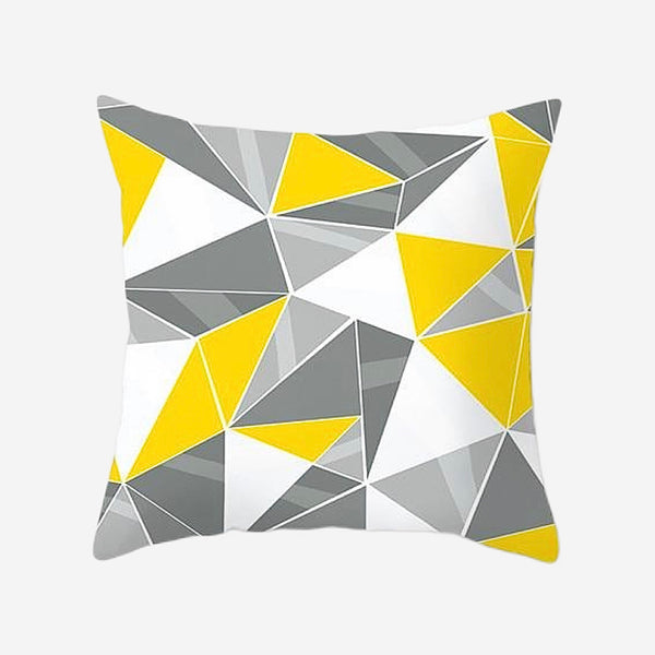 Geometric Cushion Covers Triangle Yellow Gray / Grey Print Pillow Case For Home Chair Sofa Decoration Pillowcases Cover 45cm*45cm Trend