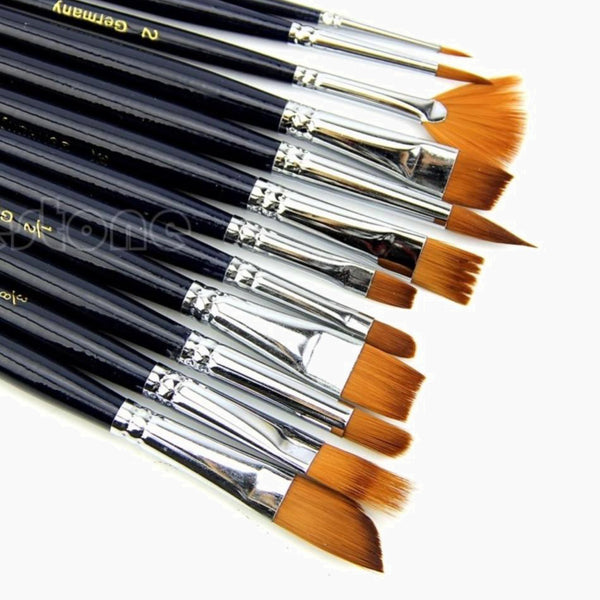 12 Piece Artist Paint Brush Set Nylon Hair Watercolor Acrylic Oil Painting Craft Supplies Trend