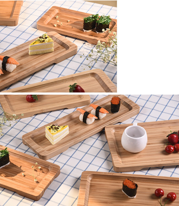 Rectangle Bamboo Sushi Tray Dishes Tea Dinner Plate Party Serving Trays Style H