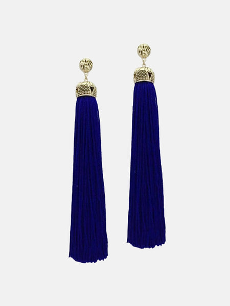 Bohemian Long Tassel Earrings   Statement blue dangle ethnic earrings Fashion boho jewelry Trend
