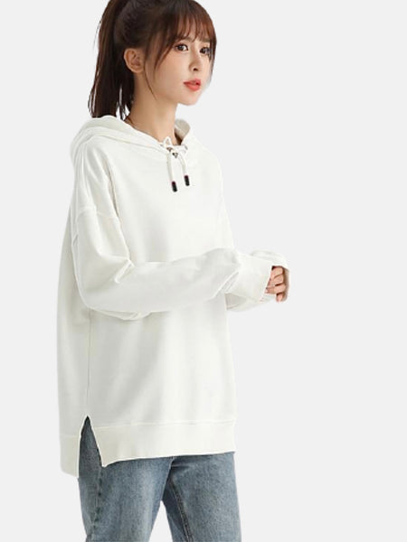 miFit Hoodie Sweatshirt      Casual oversized white cotton drawstring with split Women's hoodies sweatshirts Trend