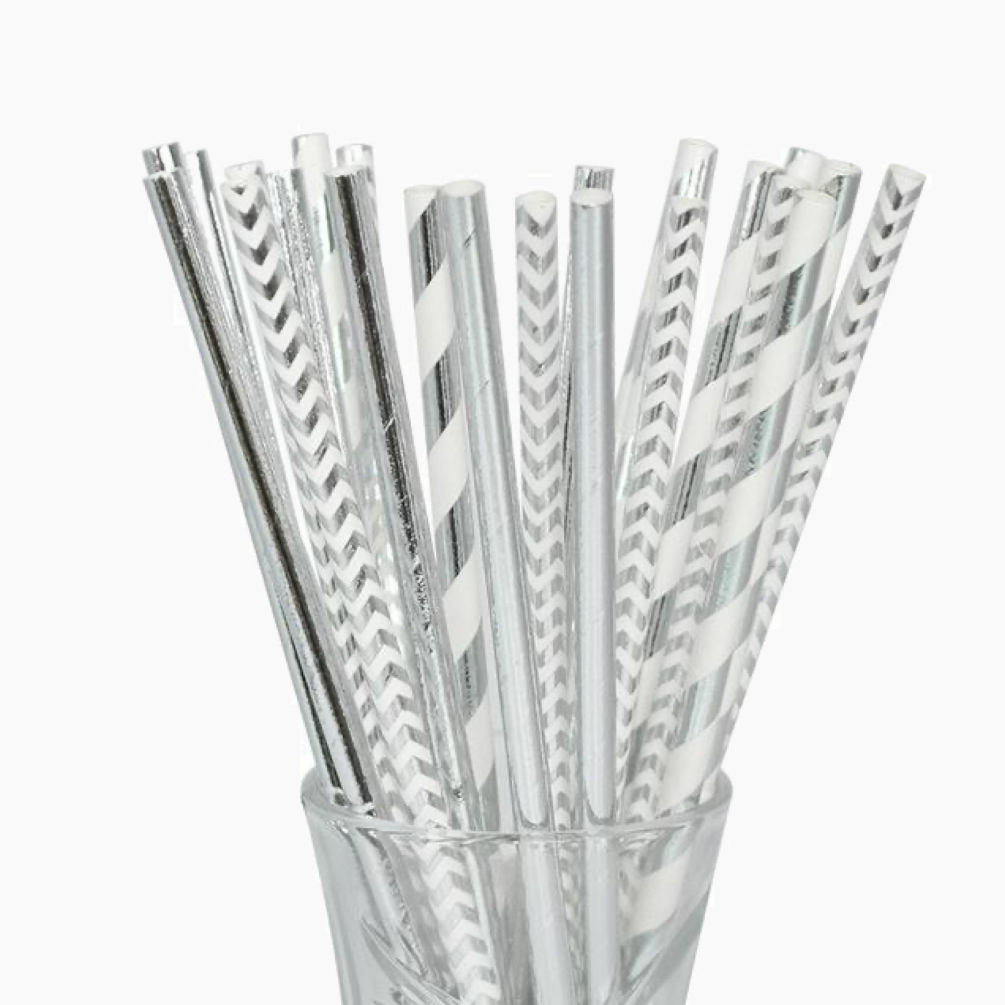 25 Piece Mix Gray / Grey Silver White Paper Straw Stripe Drinking Chevron Straws For Wedding Birthday Party Decoration Baby Shower Supplies Trend