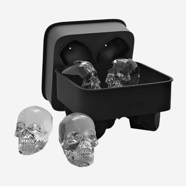 4 Cavity Skull 3D Ice Cube Mold Silicone Ice Cube Tray Maker Set Whiskey Cocktail Ice Ball Mold for Party Bar Kitchen Barware Tool Trend