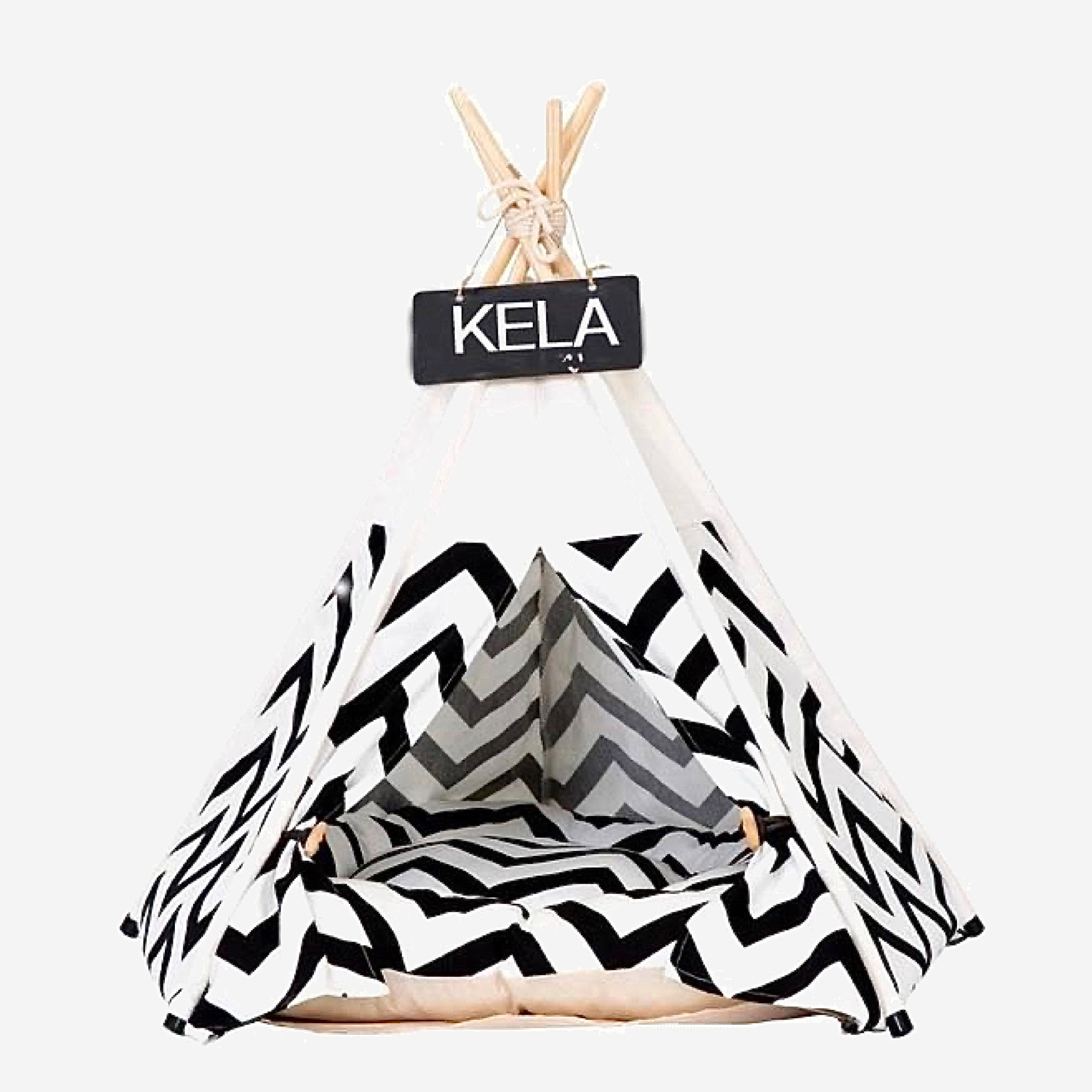 Teepee Pet Tent with Thick Cushion   House Cat Bed Portable for Dog Puppy Excursion Outdoor Indoor use Trend Black Stripe