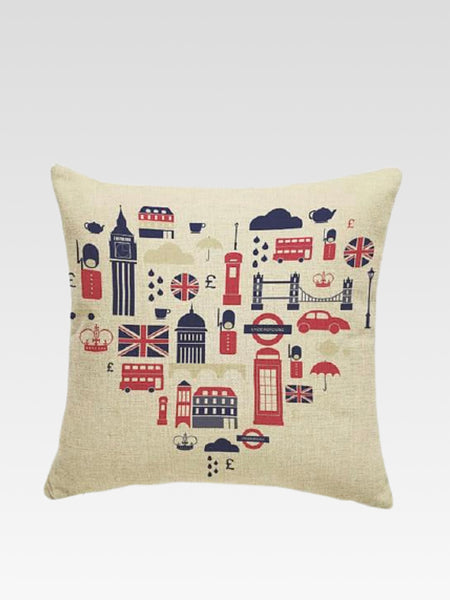 Luxury London Cushion Cover    Cotton linen London city icons hearts print home decoration car sofa pillow cushion covers 45*45 Trend