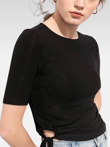 Crewneck Tie Top       Solid side drawstring tie black o-neck chic short sleeve cropped women's T-Shirt tops Trend