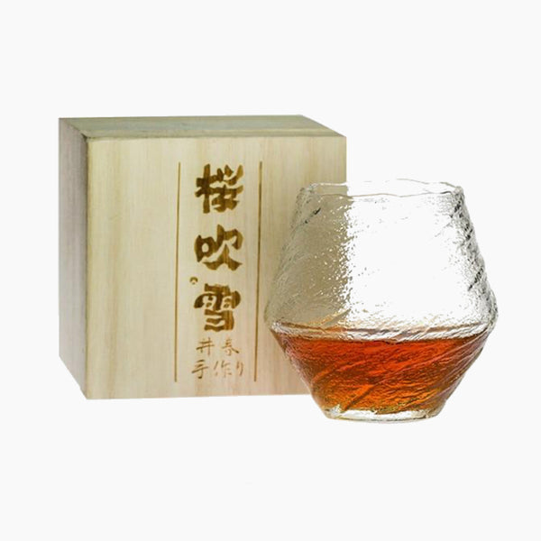 Japanese EDO Crystal Blowing Snow Artwork Whiskey Glass Wood Gift Box Niche Liquor XO Neat Whisky Cognac Brandy Snifter Glasses Japan Glassware Drinkware Trend