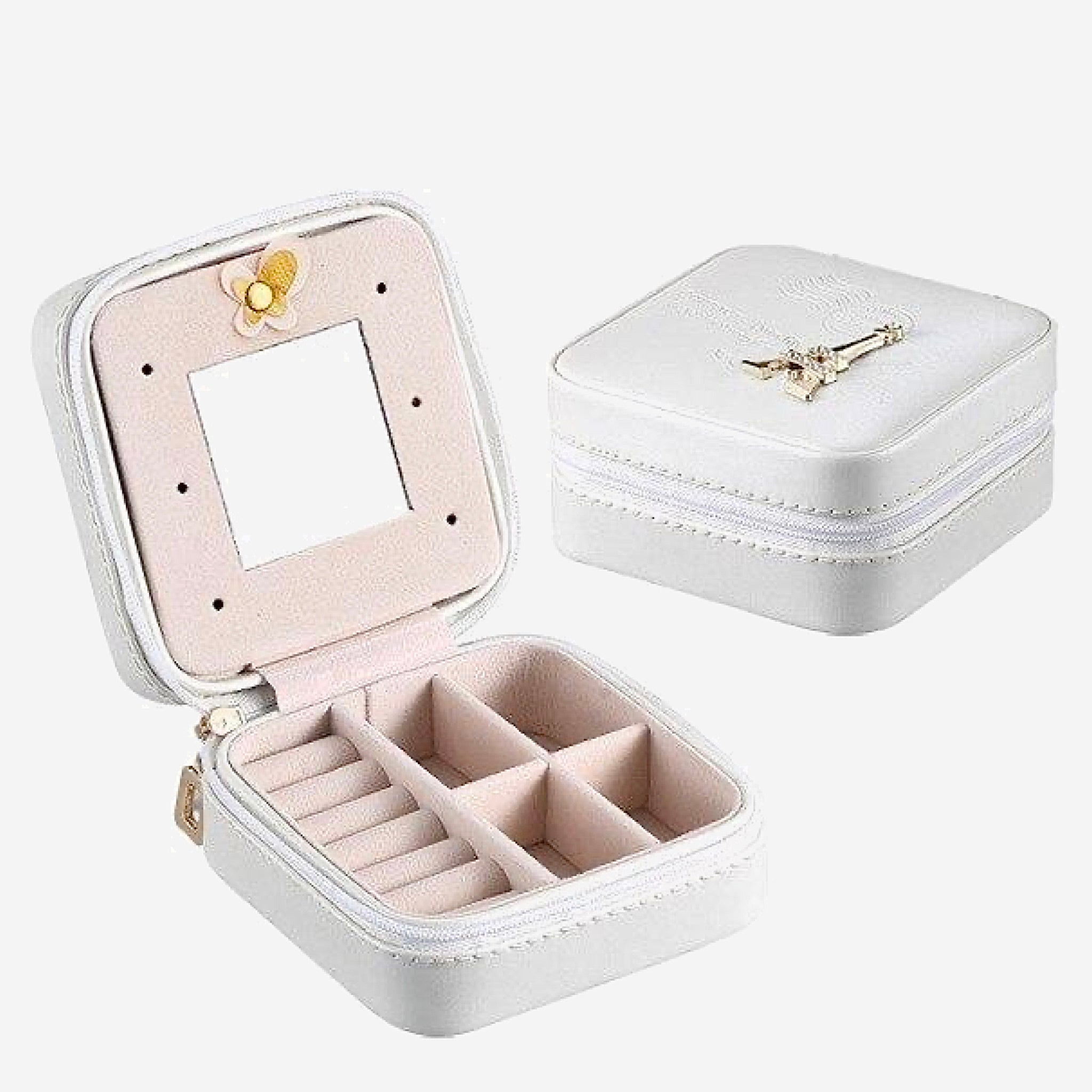 Leather Jewelry Box Travel earring boxes Holder Portable Storage Zip Organizer Case Trend White