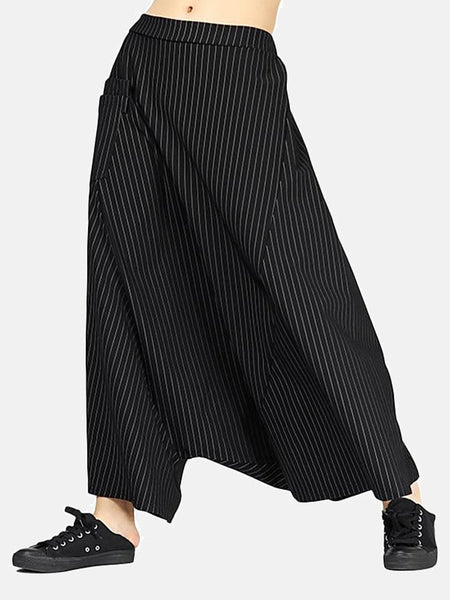 High Waist Flow Pants      Casual black patchwork pocket oversize loose striped Women's trousers Trend