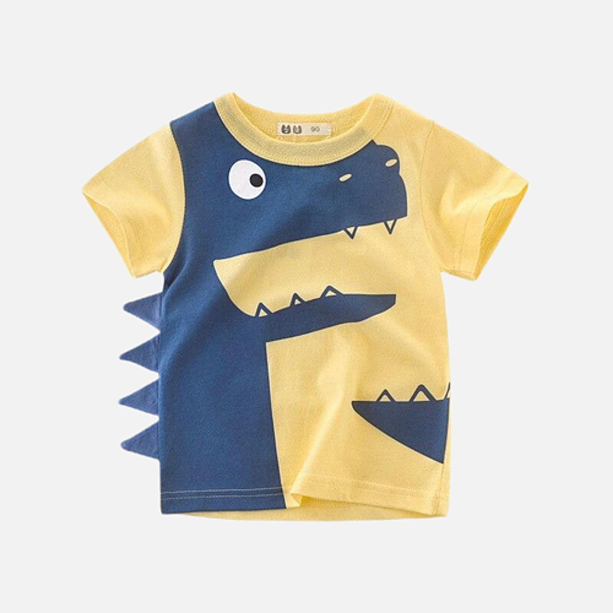 Toddler Crewneck T-Shirt      Dinosaur cartoon yellow short sleeve infant tshirt tee