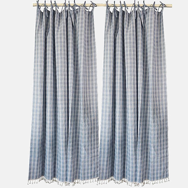 Japanese Cotton Linen Plaid Curtain Trend