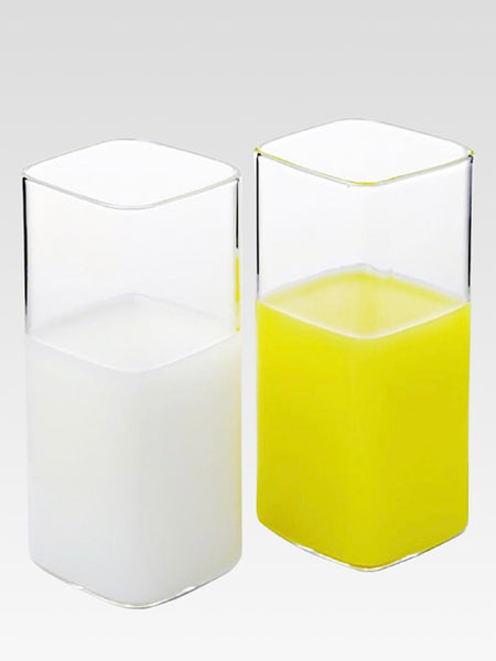 Borosilicate Glass Tumbler     Rectangle single layer transparent insulated lead-free juice milk mug glassware Trend