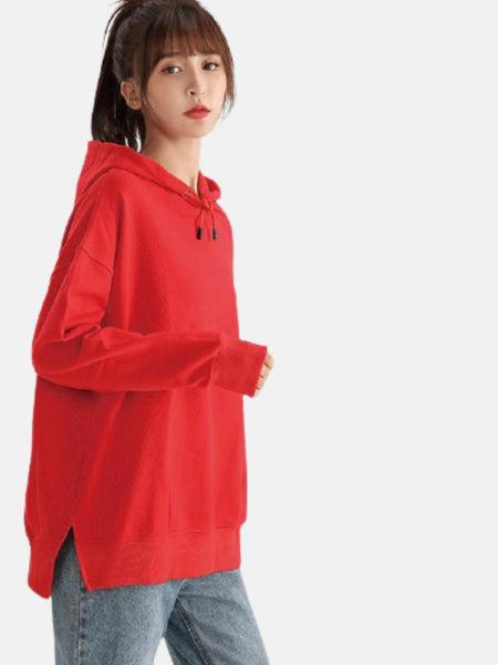 miFit Hoodie Sweatshirt      Casual oversized red cotton drawstring with split Women's hoodies sweatshirts Trend