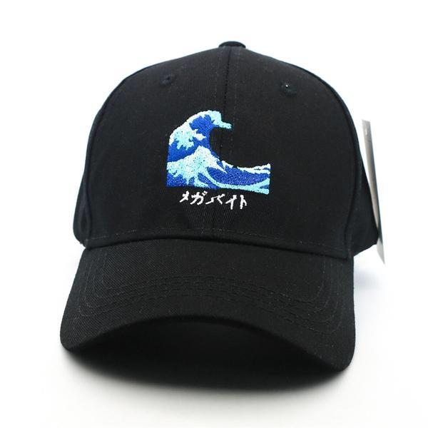 Japanese Harajuku The Wave Embroidery Black Baseball Caps Mens Womans Japan Snapback Cap Hats Style C