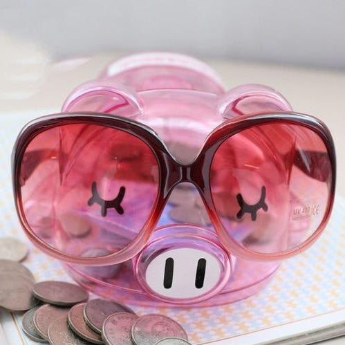Cute Fashionista Transparent Lucid Pink Pig Coin Piggy Bank Money Savings Box Coin Piggy Bank Cash Boxes Child Kids Gift Home Decoration Accessories Style