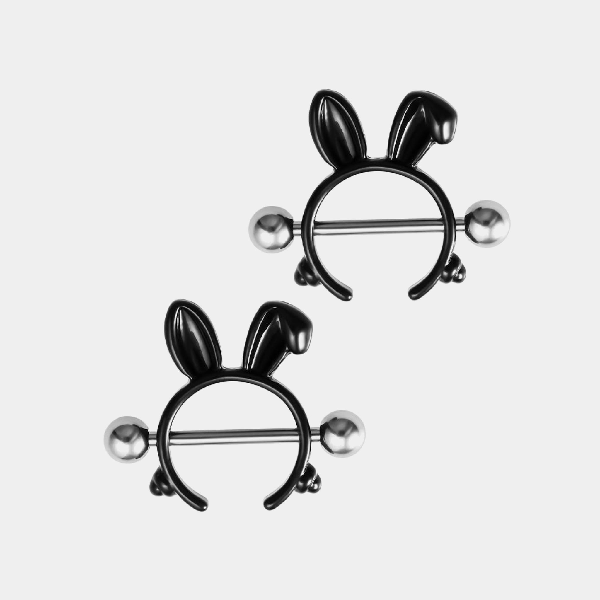 1 Pair Rabbit Nipple Rings 316L Stainless Steel Nipple Cover Punk Black Color Body Jewelry Gift