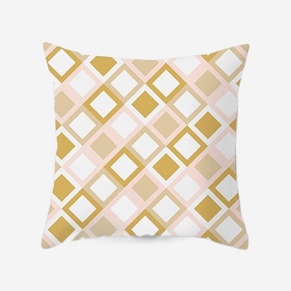 Geometric Cushion Covers Light Pink Squares Print Pillow Case For Home Chair Sofa Decoration Pillowcases Cover 45cm*45cm Trend