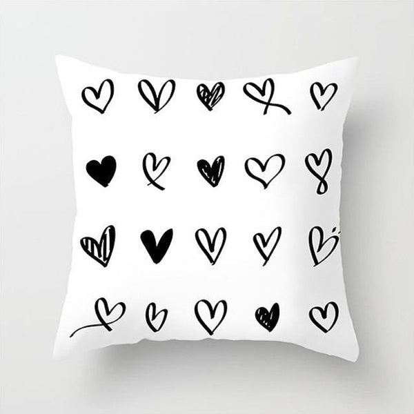 Hearts Cushion Cover White and Black Print Pillow Case For Home Chair Sofa Decoration Pillowcases Covers 45cm*45cm Trend