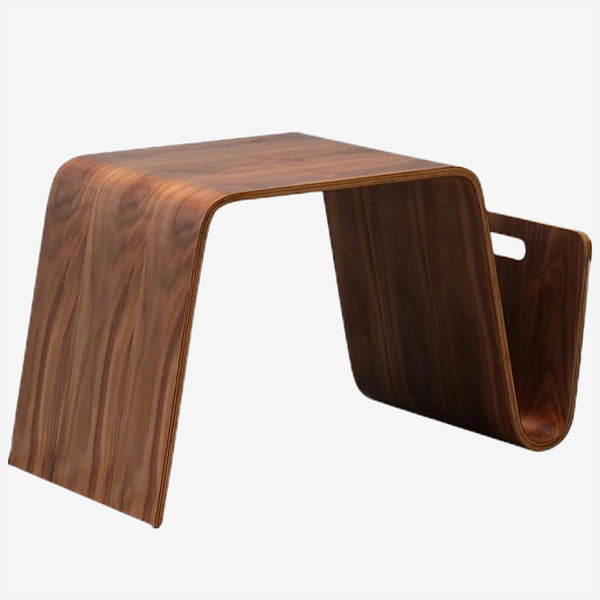 Modern Side Table with Magazine Rack  Walnut Plywood Modern Design End Tables Living Room Furniture Trend