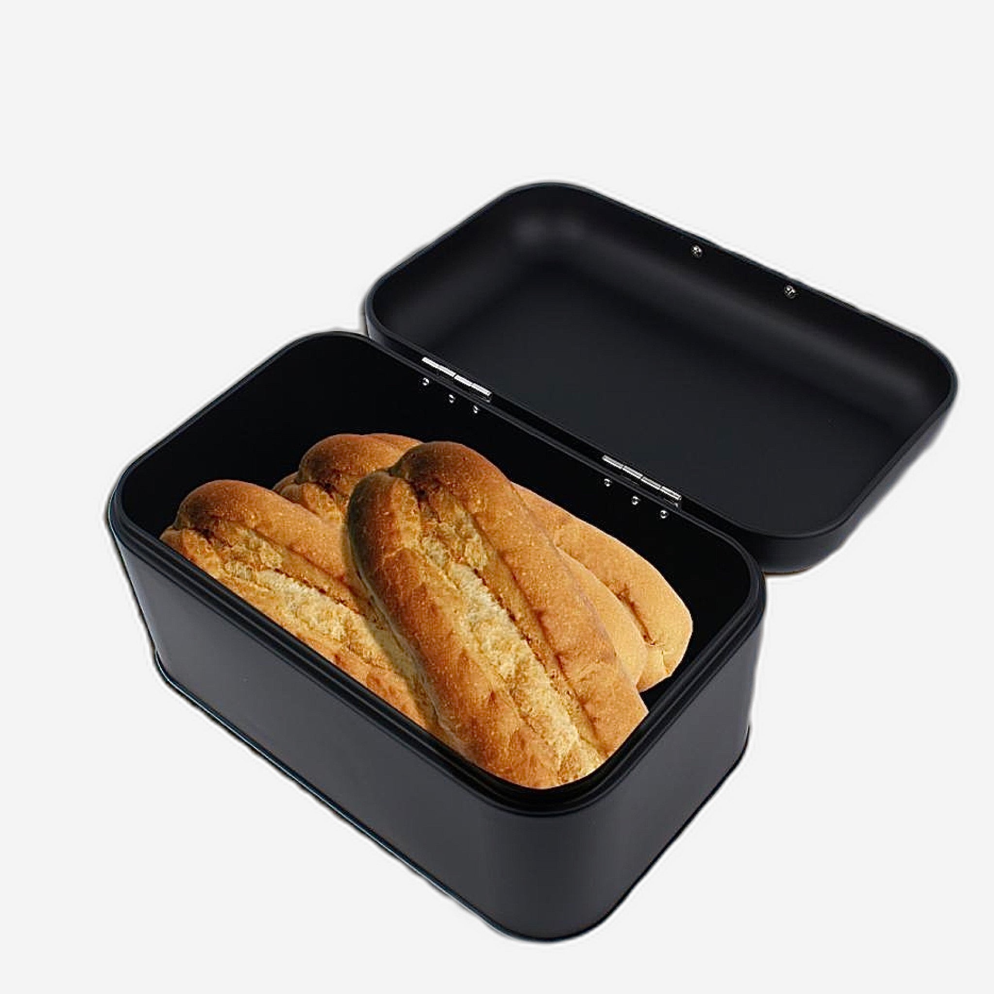 Retro Black Metal Bread Box Bread Storage Organizer Boxes Solid Color Large Capacity Bin Kitchen Storage Container Trending Style