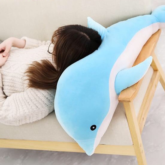 Japanese 1 Piece 50cm - 140cm Giant Blue Dolphin Plush Doll Toy Soft Stuffed Dolls Animal Pillow Kawaii Office Nap Pillow Kids Adult Toys Christmas Birthday Gift