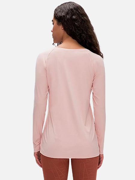 miFit QuickDry Boatneck T-Shirt     Long sleeved champagne powder color breathable lightweight loose quick dry naked-feel fabric Skin friendly Workout Yoga Running Sport Tops Women's T-Shirts Sportswear Trend